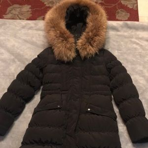 Guess Raccoon trim Hooded puffer down Coat